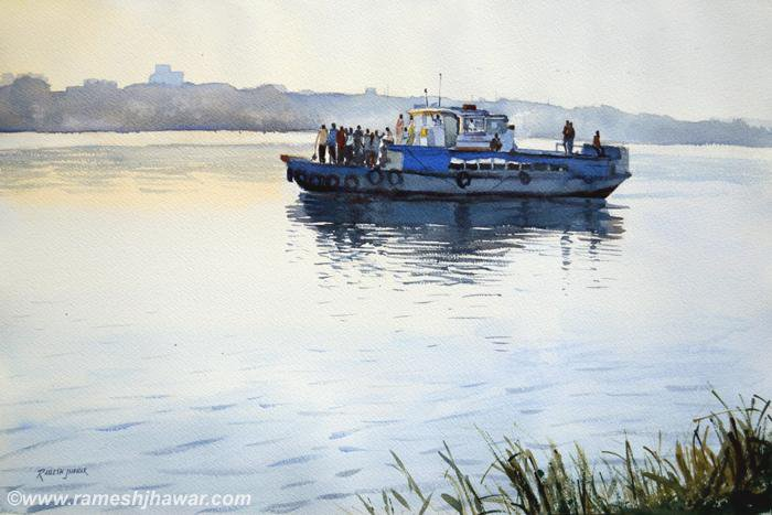 Morning Ferry on the Hooghly - Ramesh Jhawar