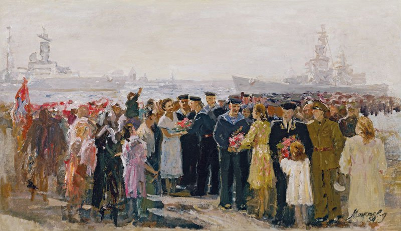 Alexei Mozhaev (1918-1994). Grand Reception of sailors in Leningrad.