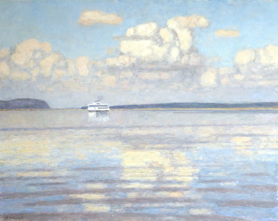 Nikolai Galakhov (b. 1928). Clouds over Volga River.