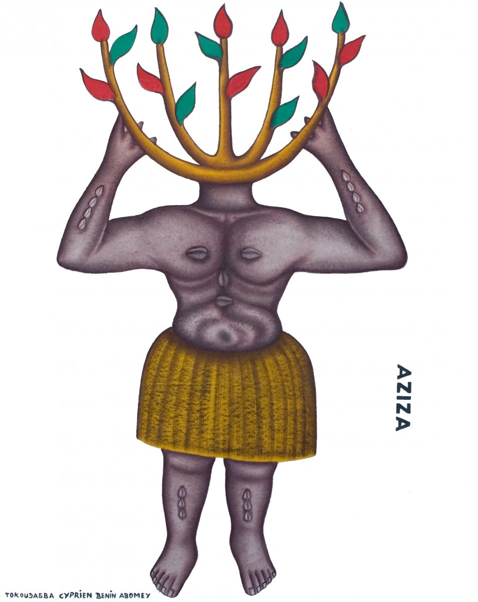 Painting by Cyprien Tokoudagba, Aziza the vodun god of the forest Abomey, Benin