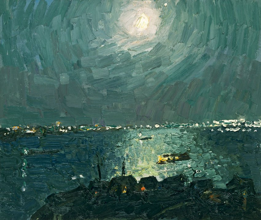 Moonlit Night on the Volga River - Vladimir Ovchinnikov