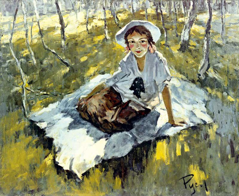 A Girl with a Bow - Lev Russov