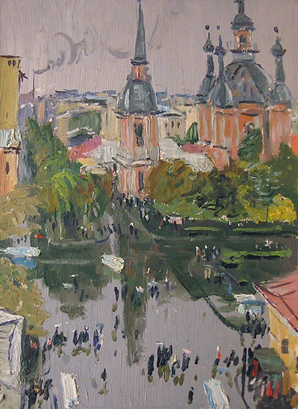 View at the Saint Andrew Cathedral in Leningrad - Vladimir Ovchinnikov