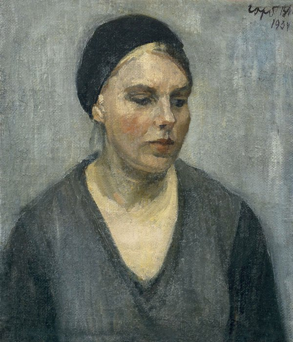 Vladimir Gorb (1903-1986). Young woman in black beret.