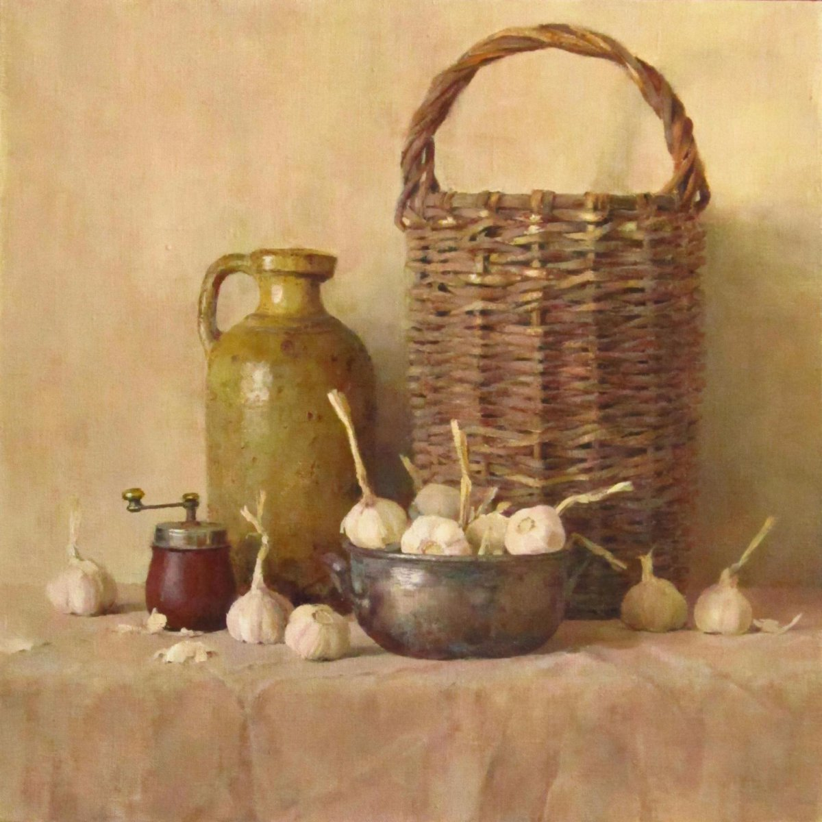 still life with a basket - Evgenia Trifonova
