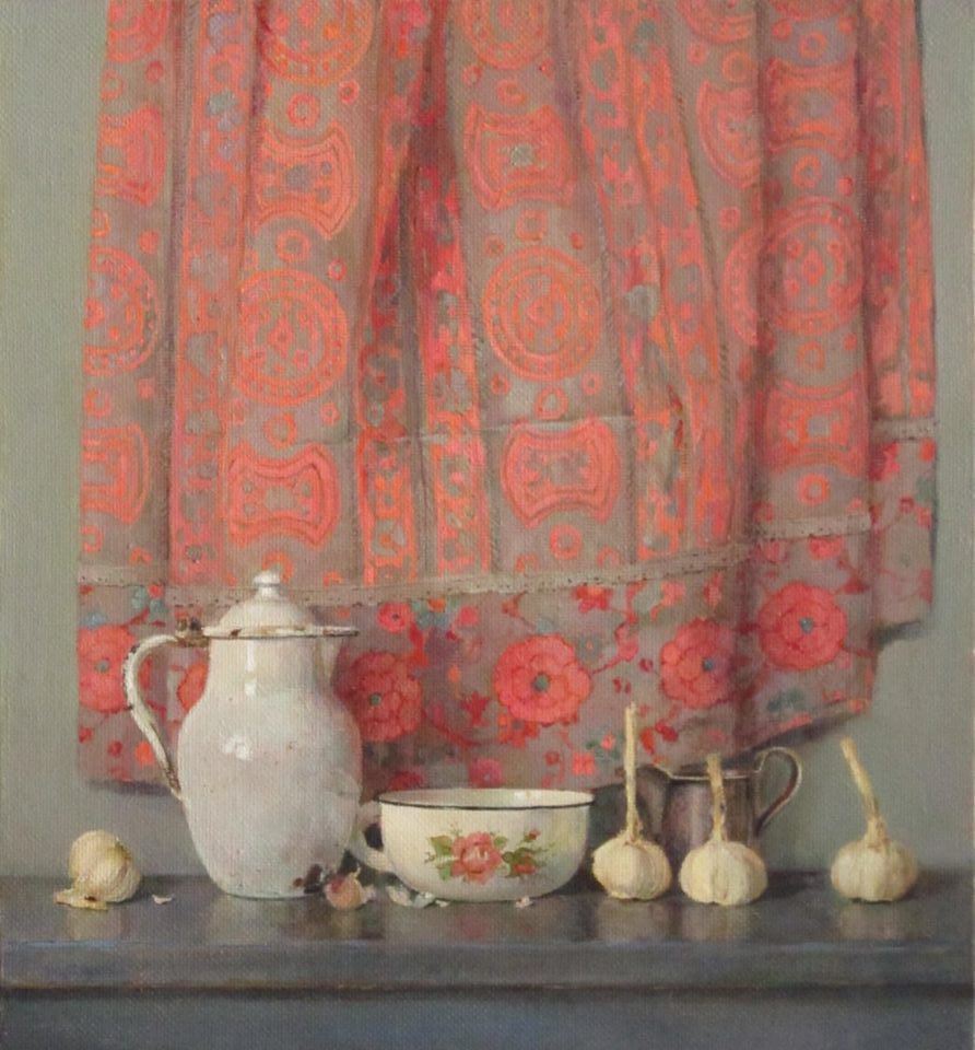 Still life with a pink cloth - Evgenia Trifonova