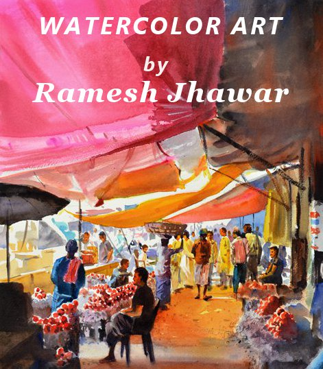 Watercolor art by Ramesh Jhawar